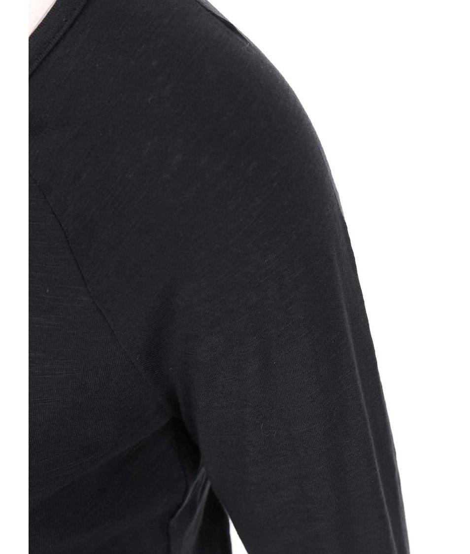 Černé tričko s 3/4 rukávy a knoflíčky Vero Moda Hope