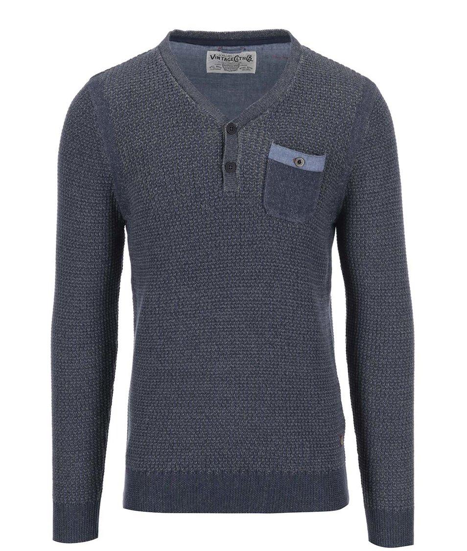 Šedomodrý žíhaný svetr s kapsou Jack & Jones Calex