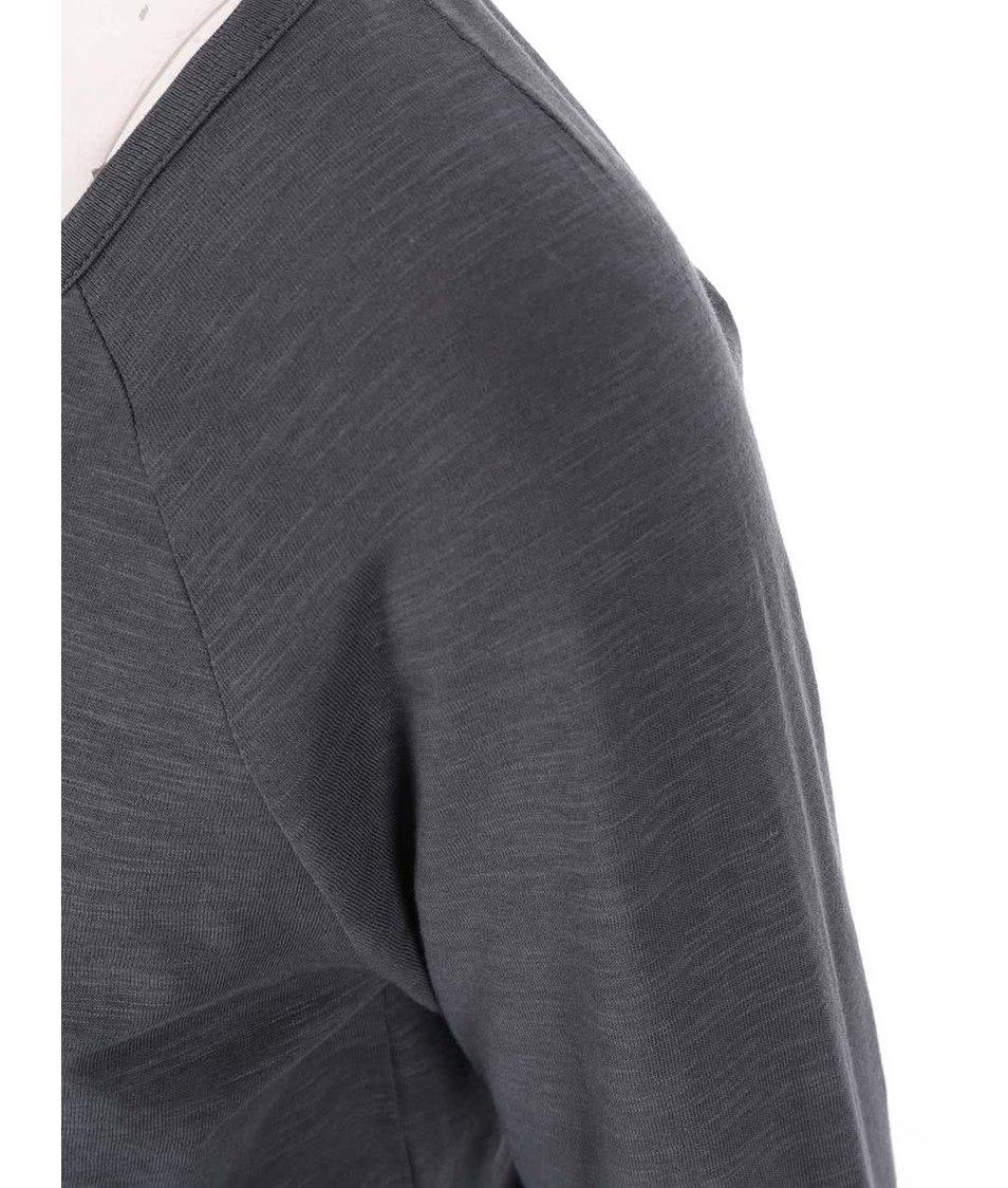Antracitové bavlněné tričko s 3/4 rukávy Vero Moda Hope