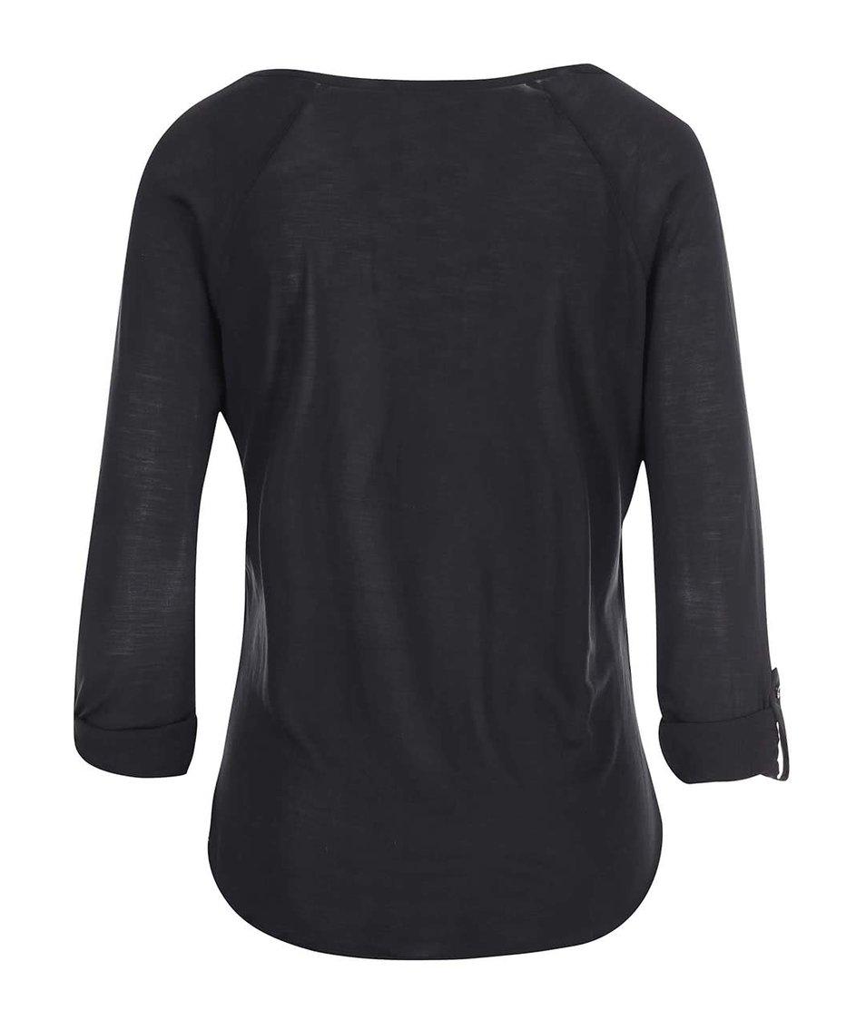 Černé bavlněné tričko s 3/4 rukávy Vero Moda Hope