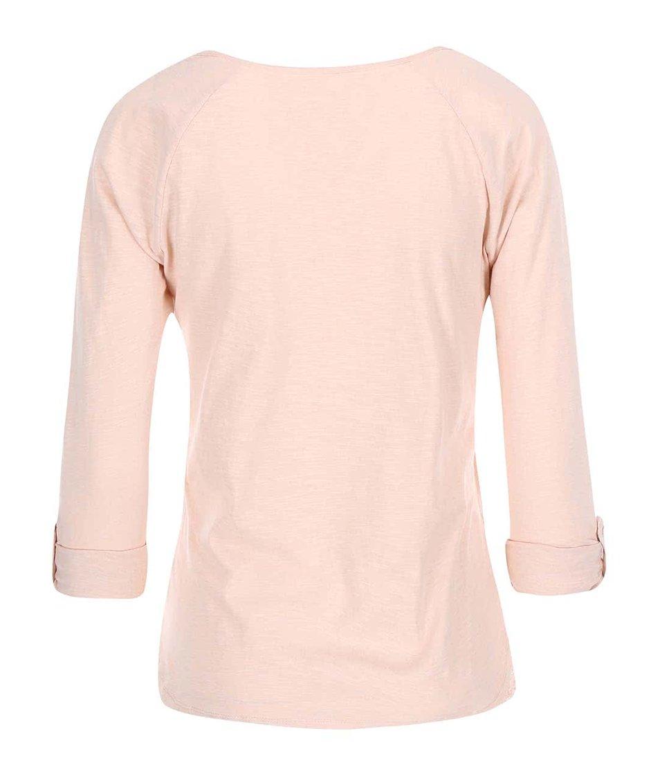 Světle růžové bavlněné tričko s 3/4 rukávy Vero Moda Hope