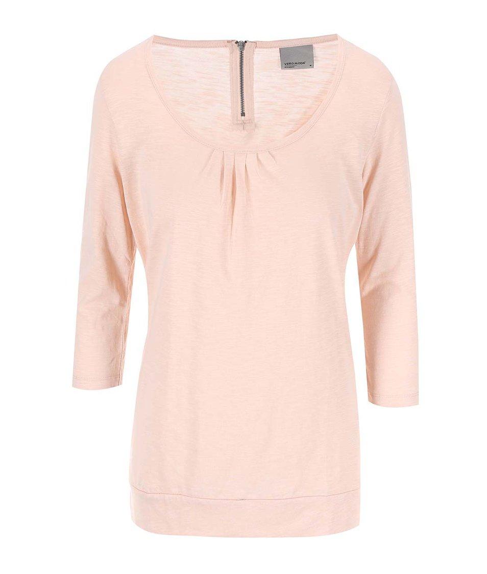Světle růžové tričko s 3/4 rukávy Vero Moda Hope
