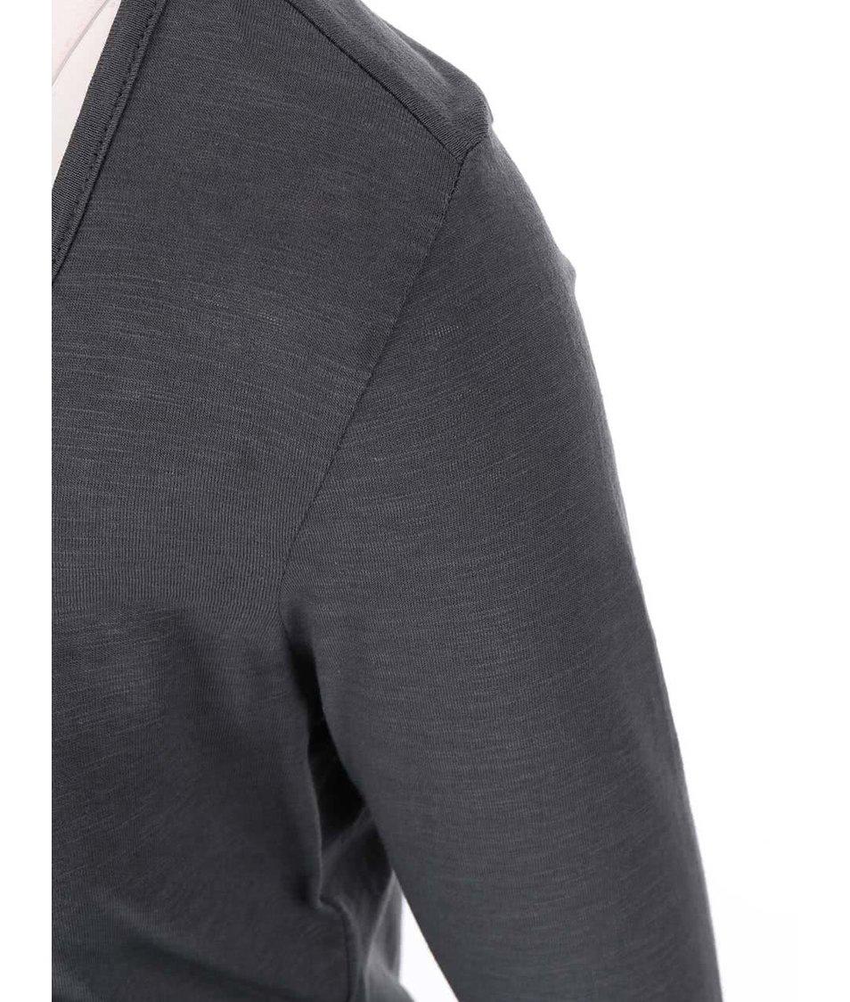 Antracitové tričko s 3/4 rukávy Vero Moda Hope