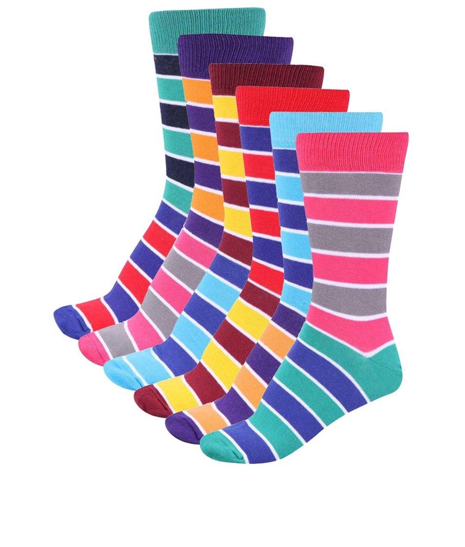 Sada šesti barevných pánských ponožek Oddsocks