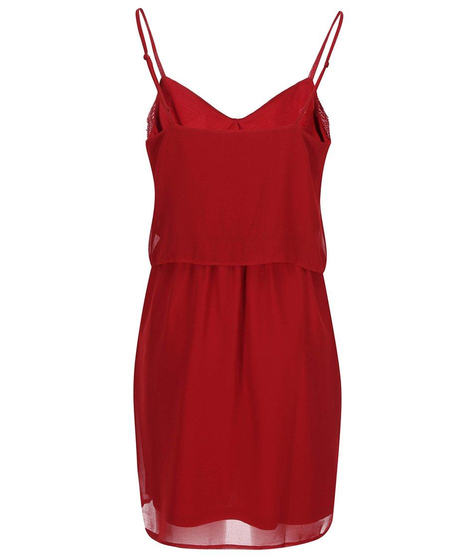 Červené šaty s korálky Vero Moda Sophie
