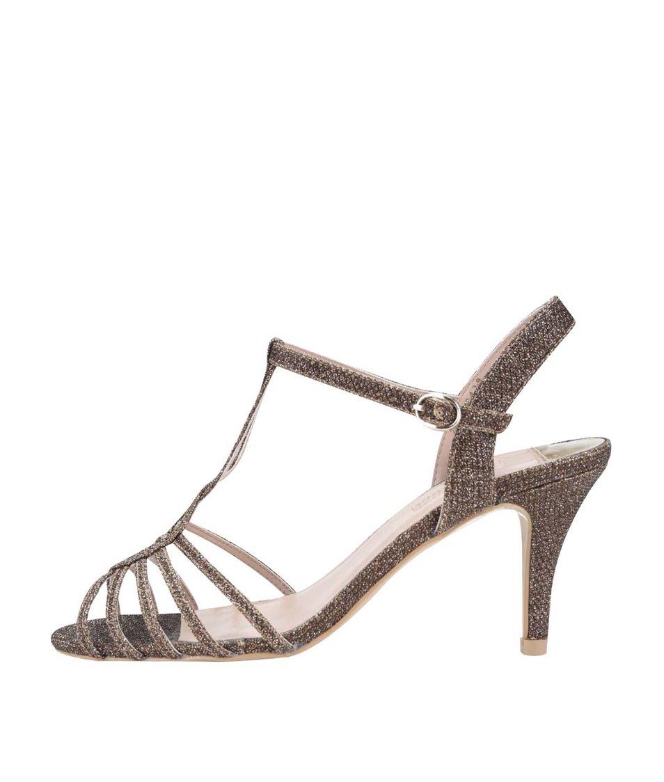 Třpytivé sandálky ve zlaté barvě na podpatku Dorothy Perkins