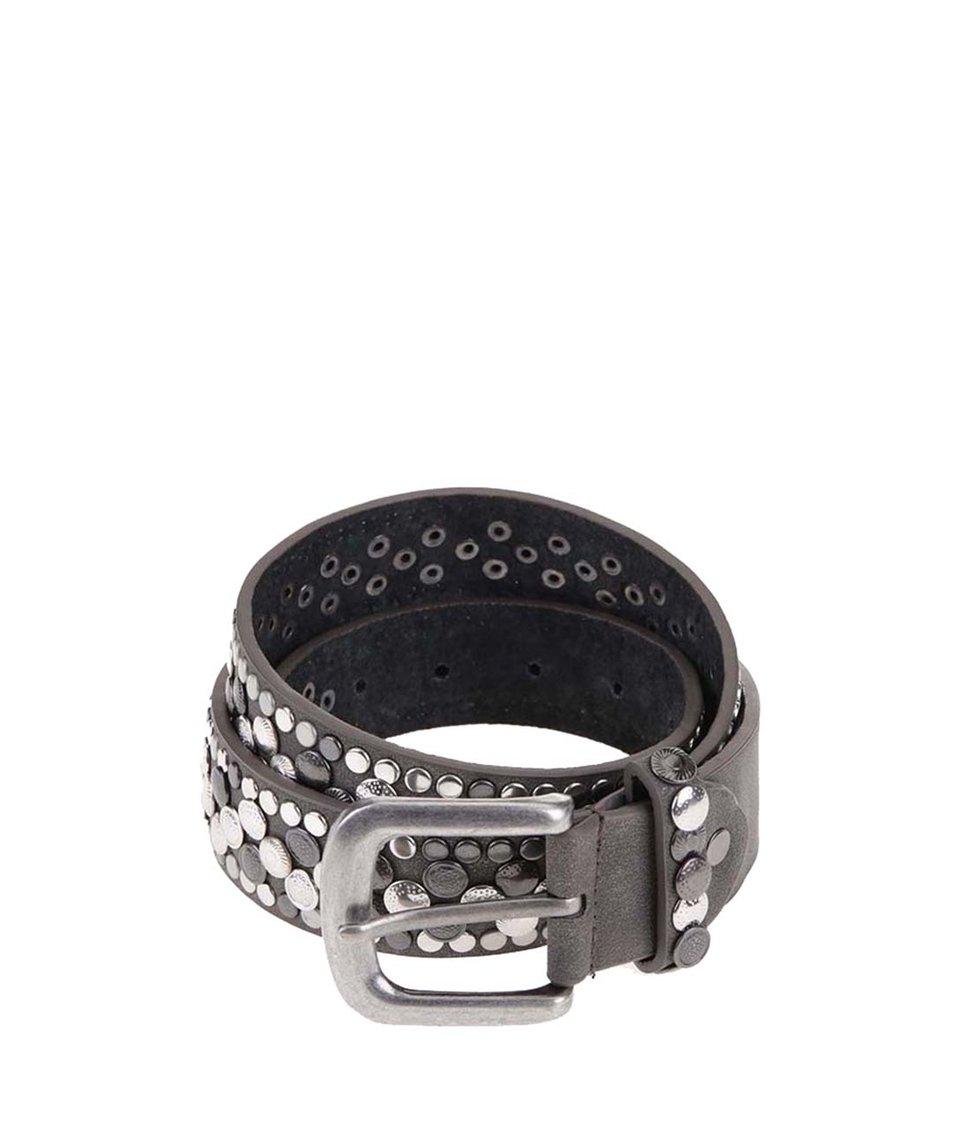 Tmavě šedý kožený pásek s cvočky Haily´s Millie