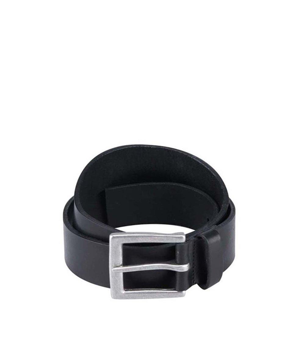 Černý kožený pásek Pieces Dea