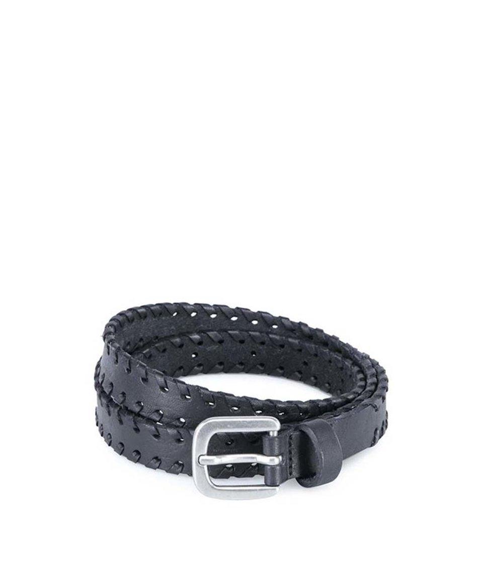 Černý kožený pásek Pieces Nanny