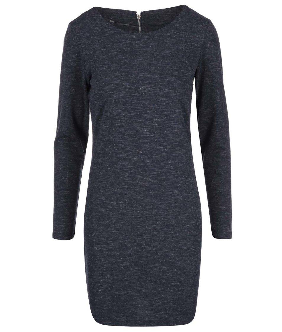 Tmavě modré žíhané šaty s dlouhým rukávem ONLY Marie