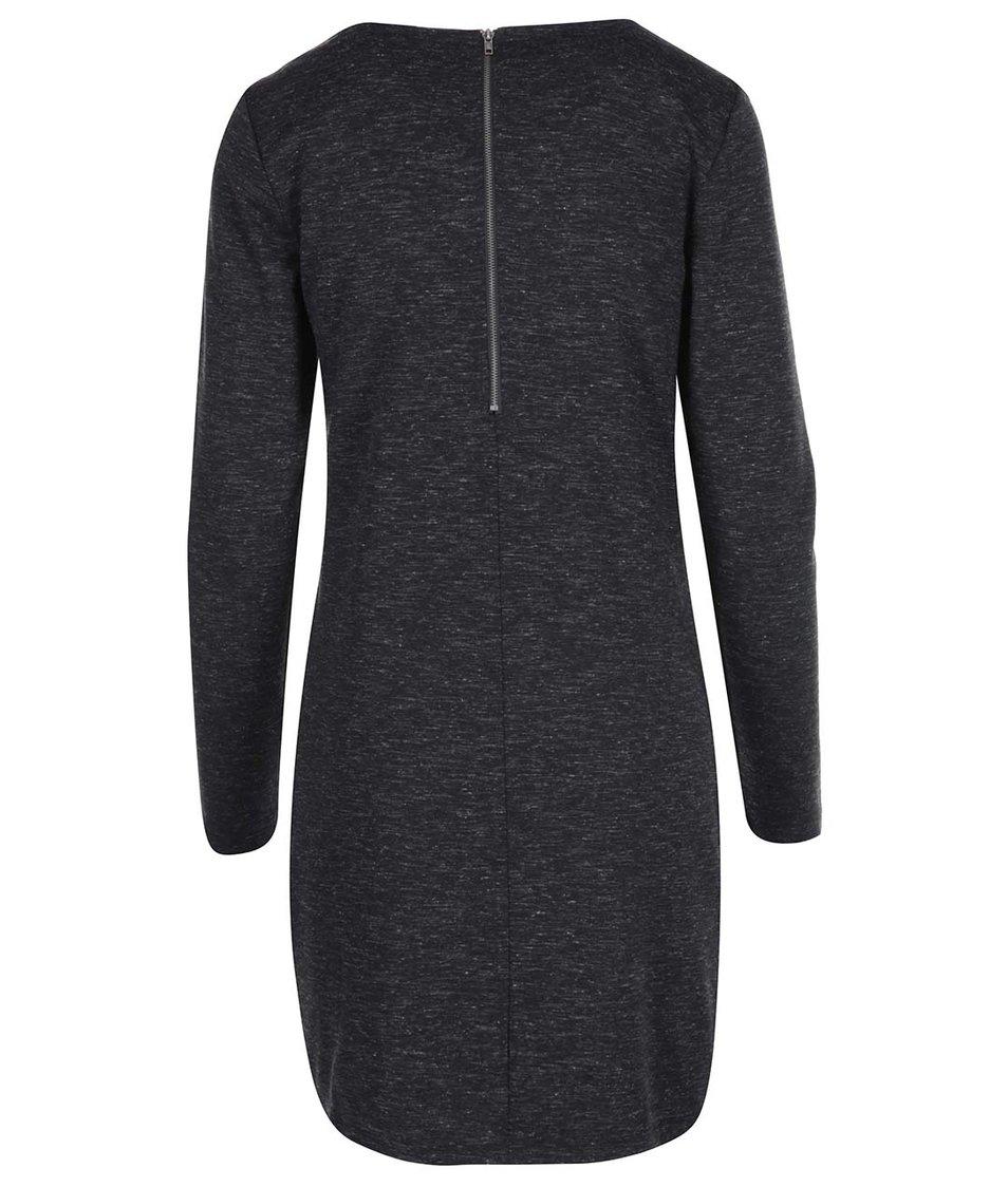 Tmavě šedé žíhané šaty s dlouhým rukávem ONLY Marie