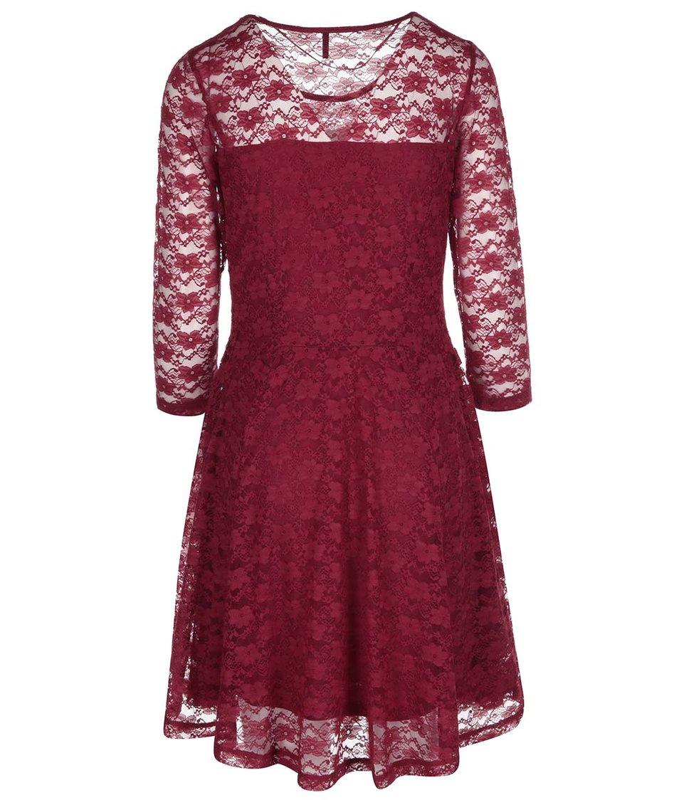 Vínové krajkované šaty ONLY Misu