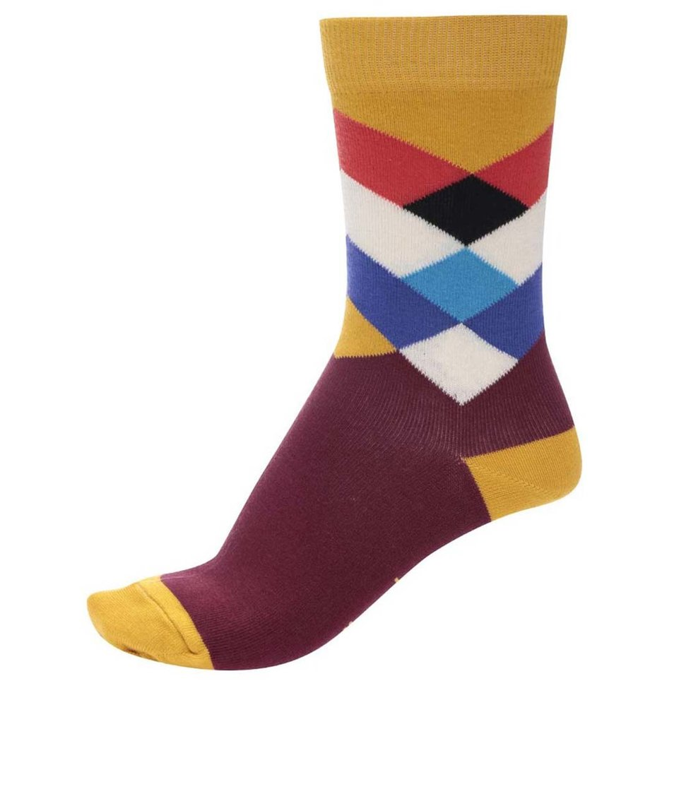 Žluto-vínové unisex ponožky s barevným vzorem Ballonet Socks Diamond