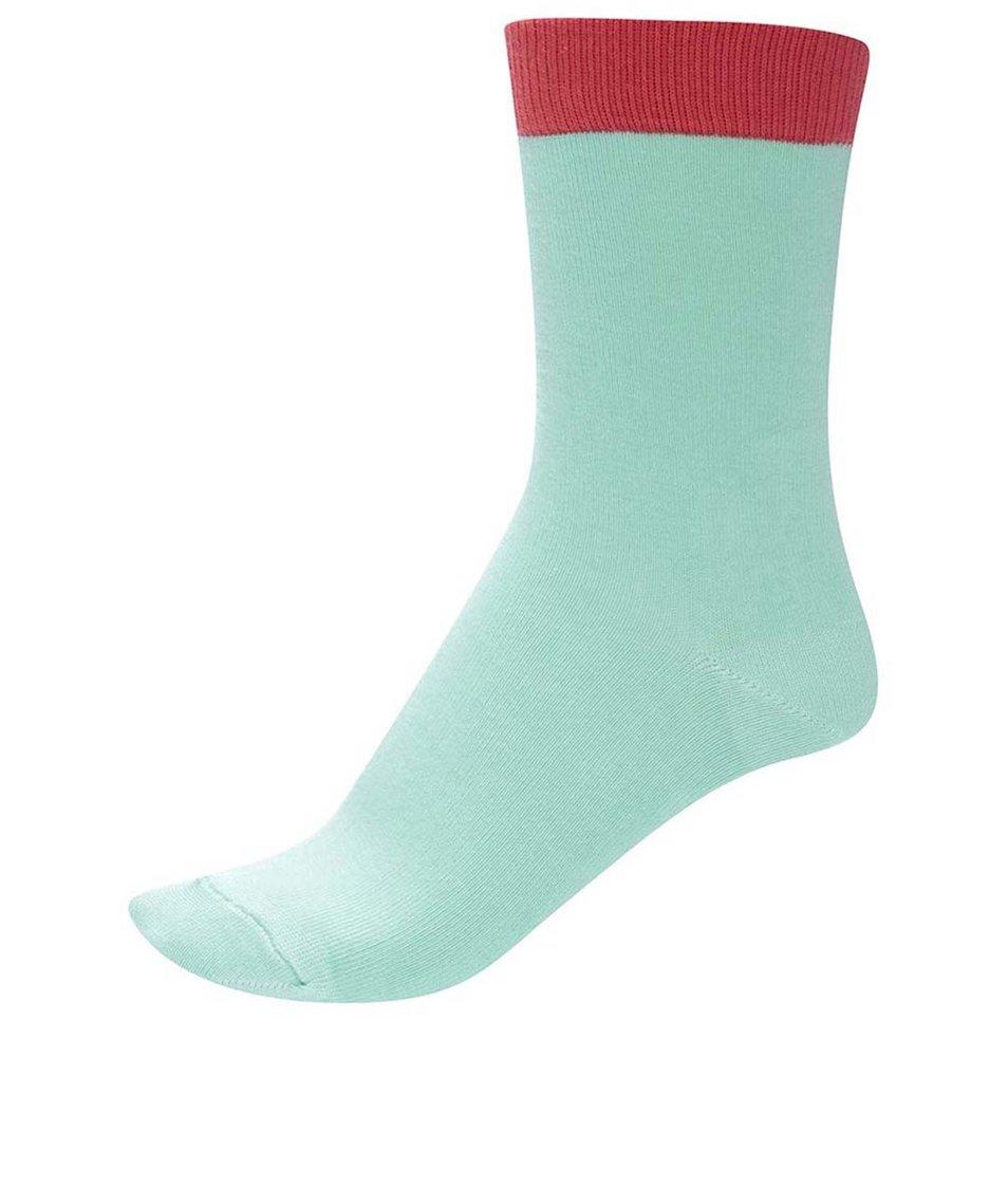 Světle zelené unisex ponožky s červeným lemem Ballonet Socks Block Mint