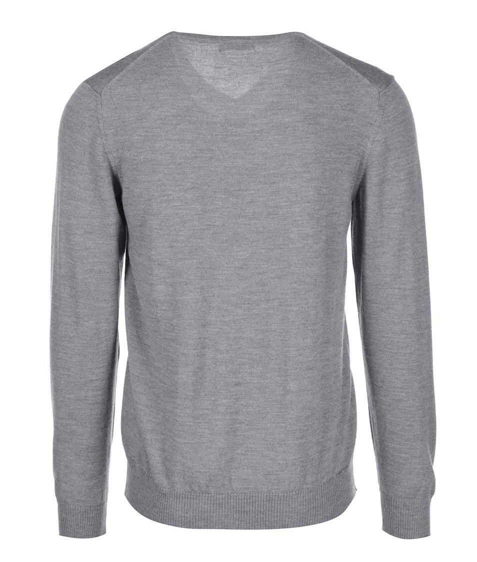 Šedý žíhaný svetr z Merino vlny J.Lindeberg Lymann