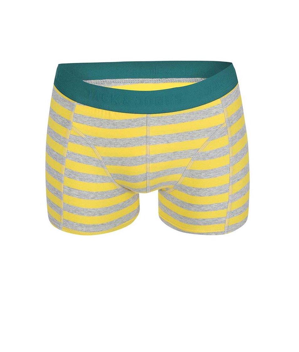 Šedo-žluté pruhované boxerky Jack & Jones Harkel