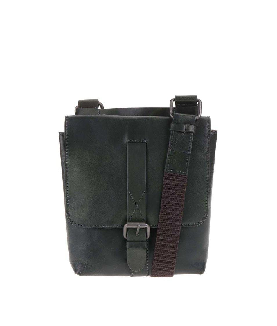 Zelená kožená pánská taška messenger Strellson Miller SV
