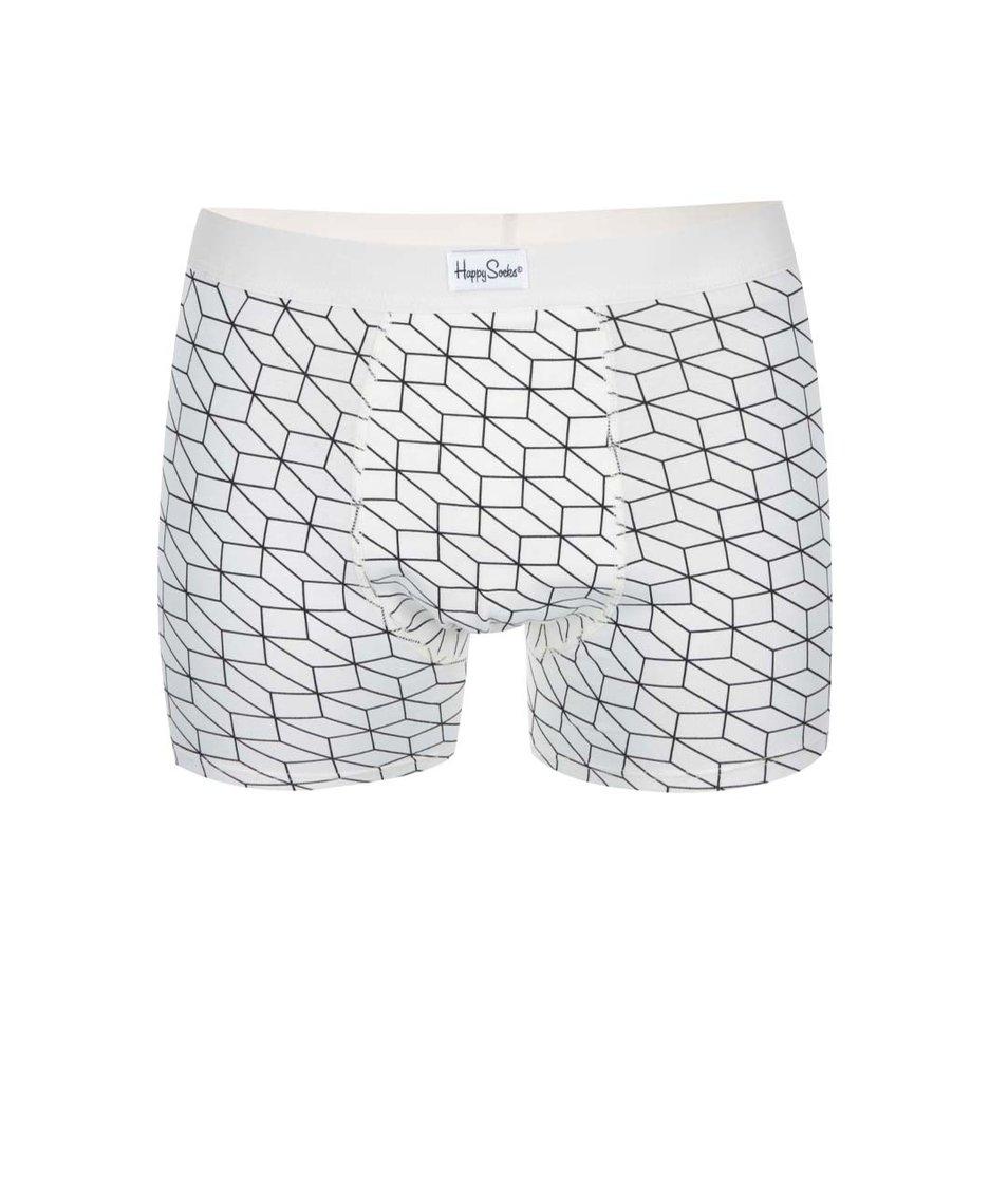 Černo-bílé boxerky se vzorem Happy Socks Optic