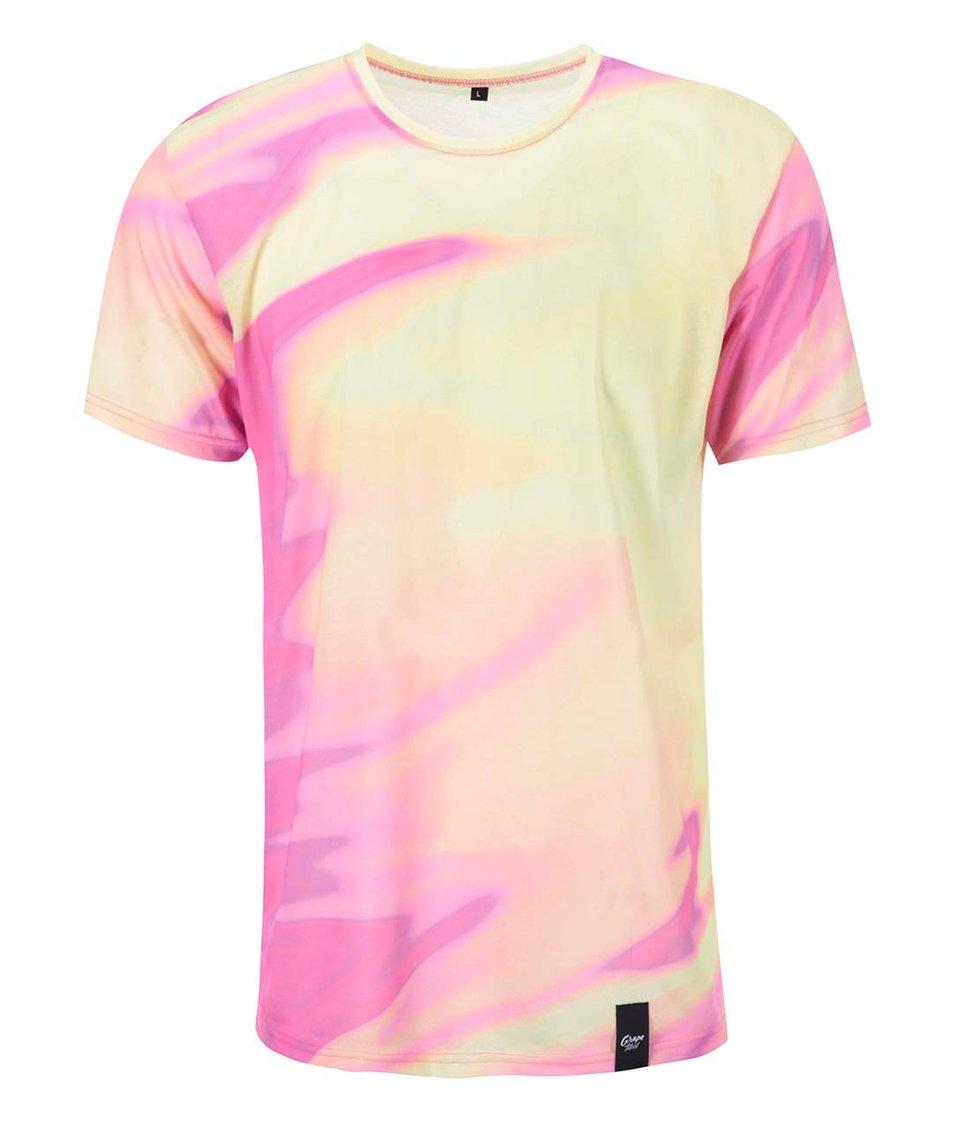 Žluto-růžové pánské celopotiskové triko Grape Duha