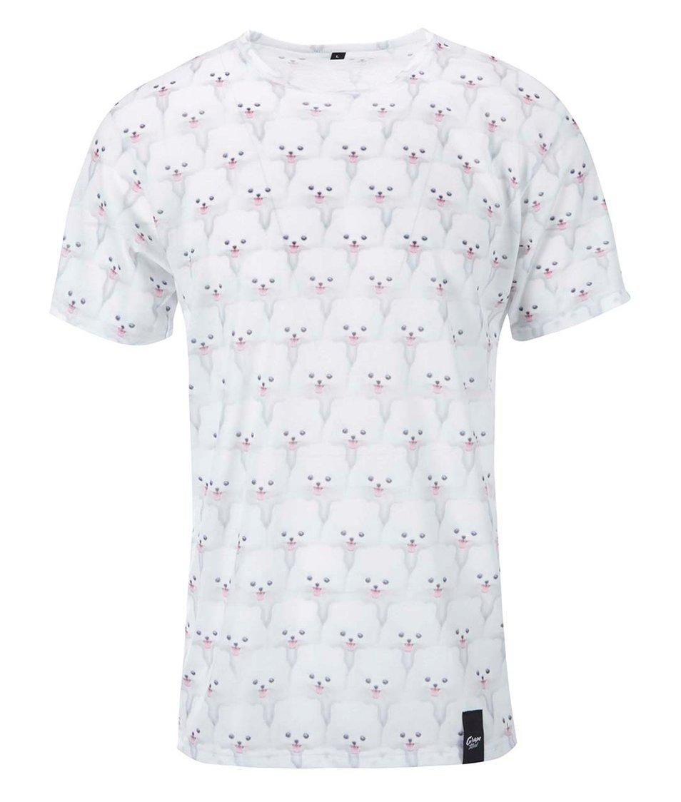 Bílé pánské celopotiskové triko Grape Biely pes