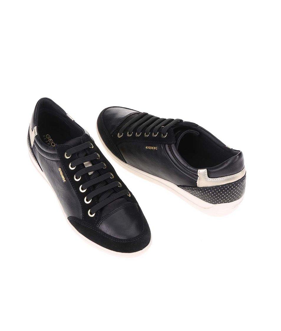 Černé dámské tenisky s koženým detailem Geox Myria - Akční cena ... 61a6956891