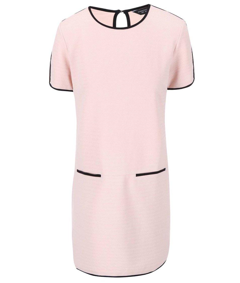 Světle růžové šaty s černým lemováním Dorothy Perkins - Akční cena ... e36dda4e34