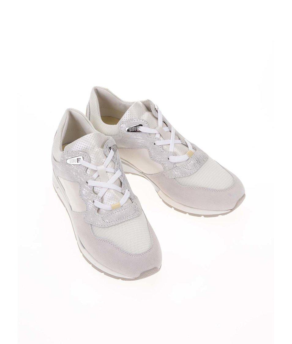 Stříbrno-šedé dámské kožené tenisky Geox Shahira - SLEVA!  74346e6d76