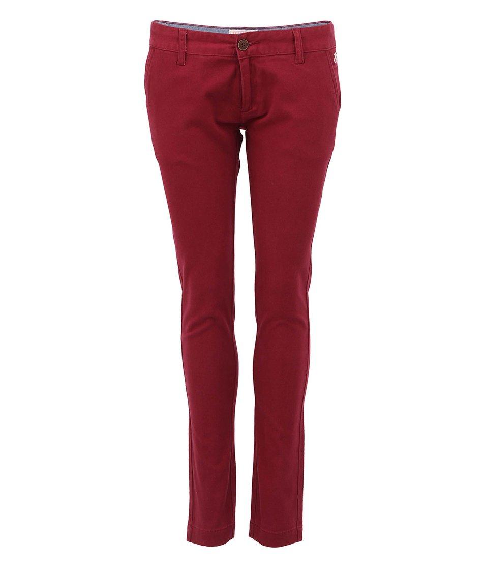 Vínové dámské úzké kalhoty se sníženým pasem Brakeburn Saris