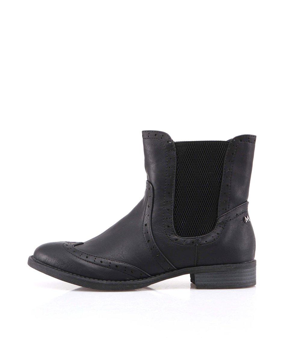 Černé kotníčkové boty s gumovou vsadkou Mariamare