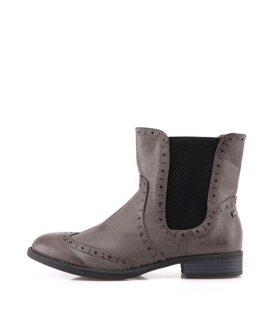 Šedé kotníčkové boty s gumovou vsadkou Mariamare
