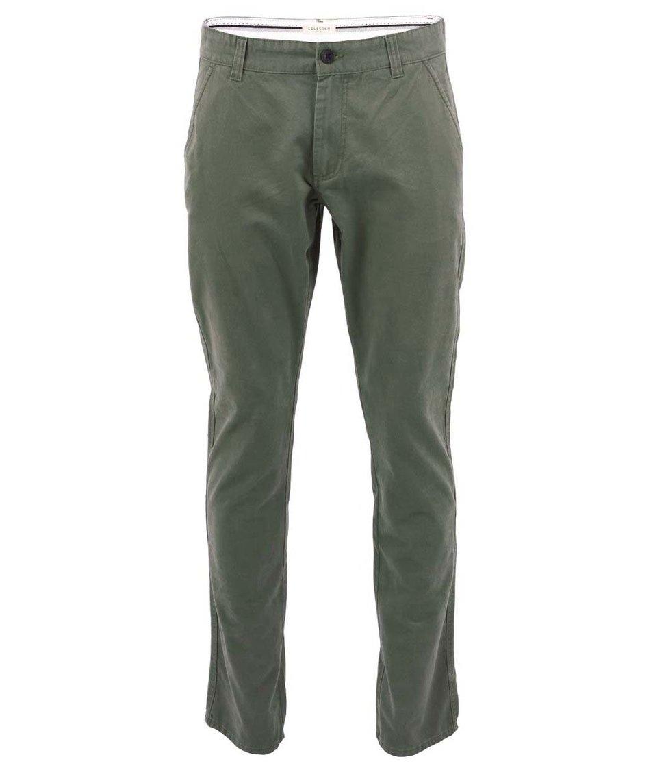 Olivově zelené kalhoty Selected Three Paris