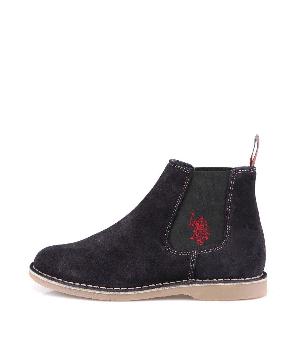 Tmavě modré dámské kožené boty U.S. Polo Assn. Idda
