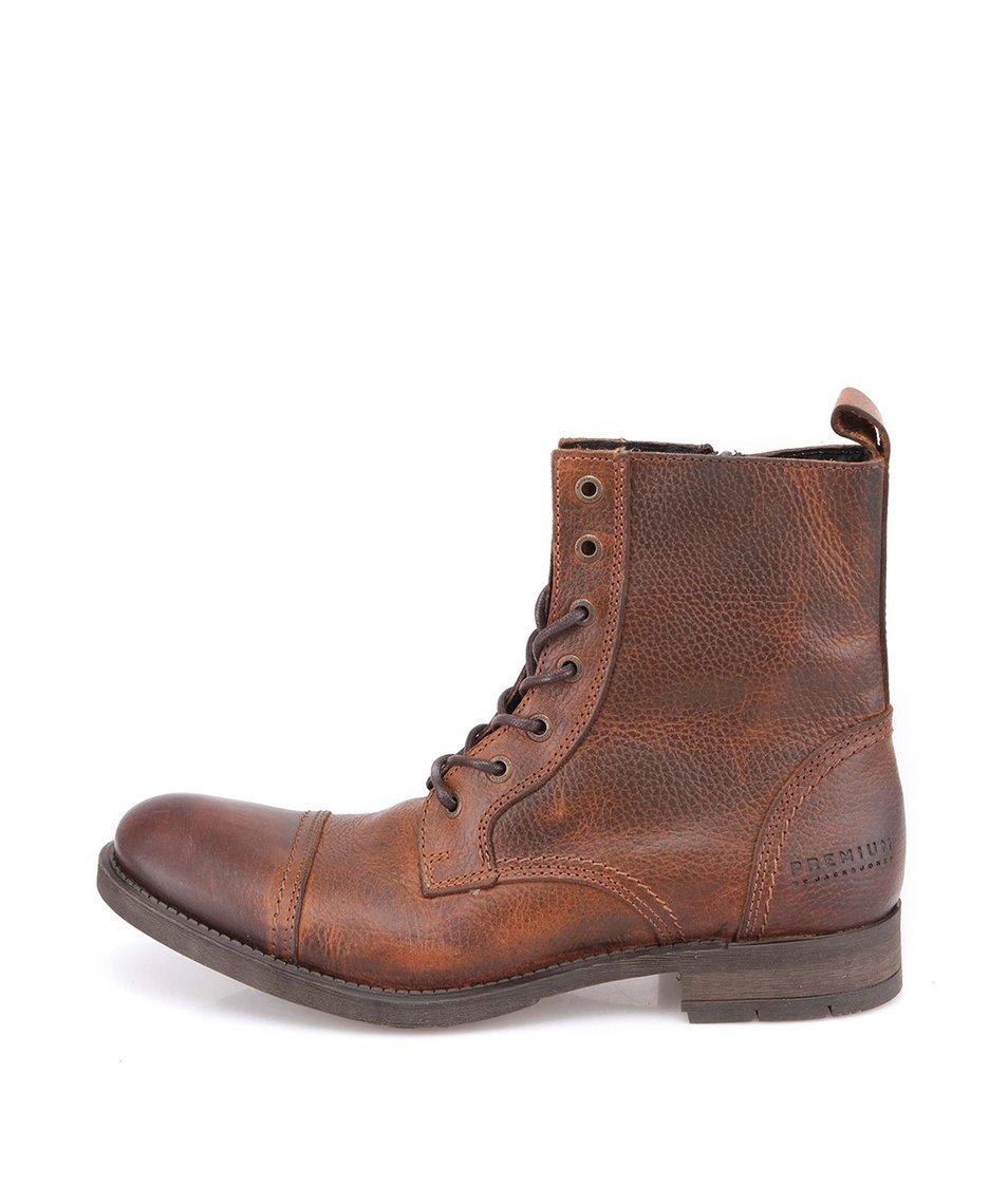 Hnědé vysoké kožené boty Jack & Jones Savek