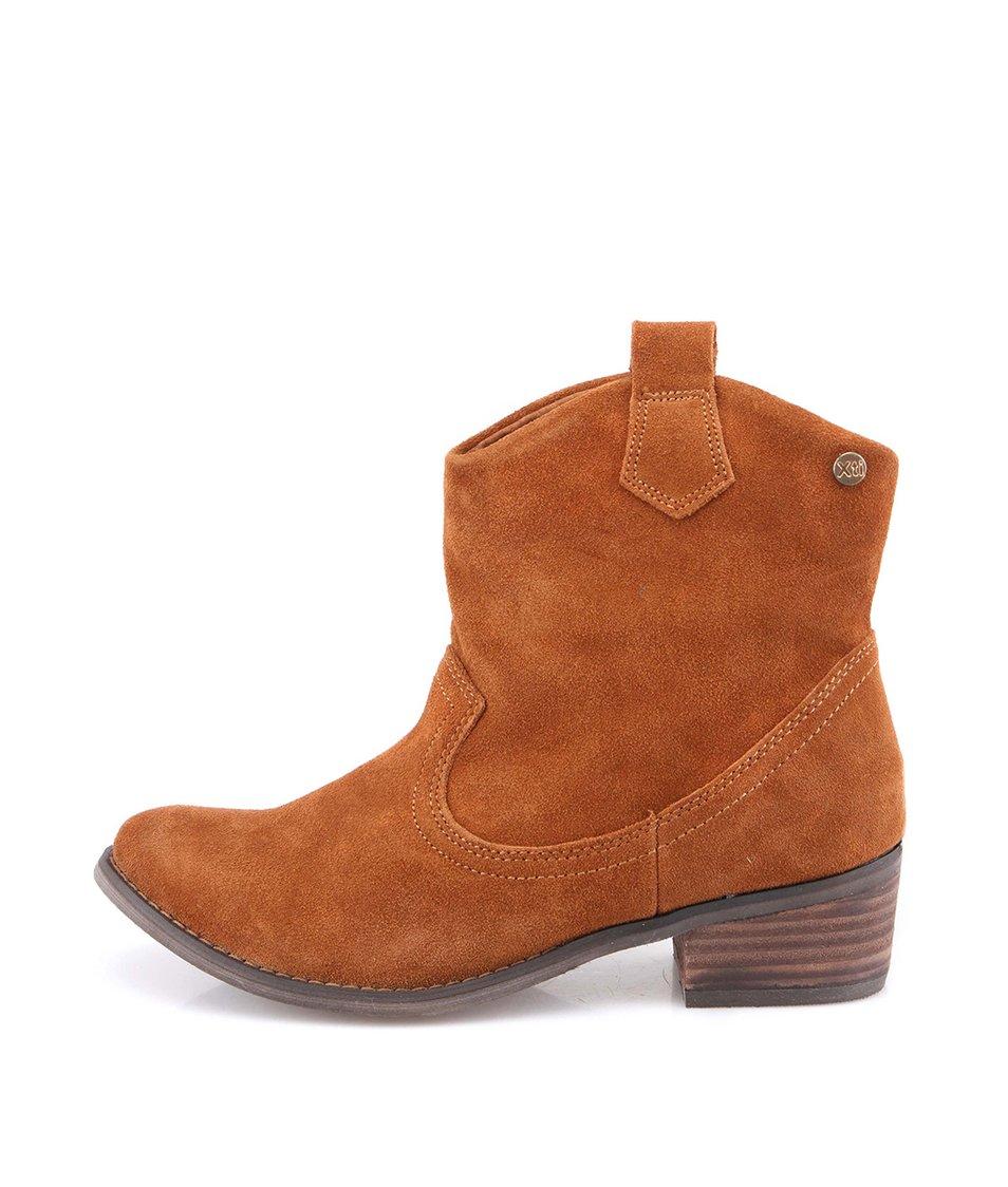 Hnědé kožené dámské kovbojské boty s vyšším podpatkem Xti
