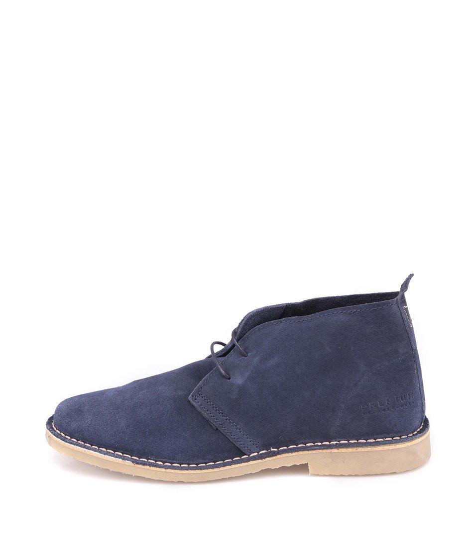 Modré kožené kotníkové boty Jack & Jones Gobi