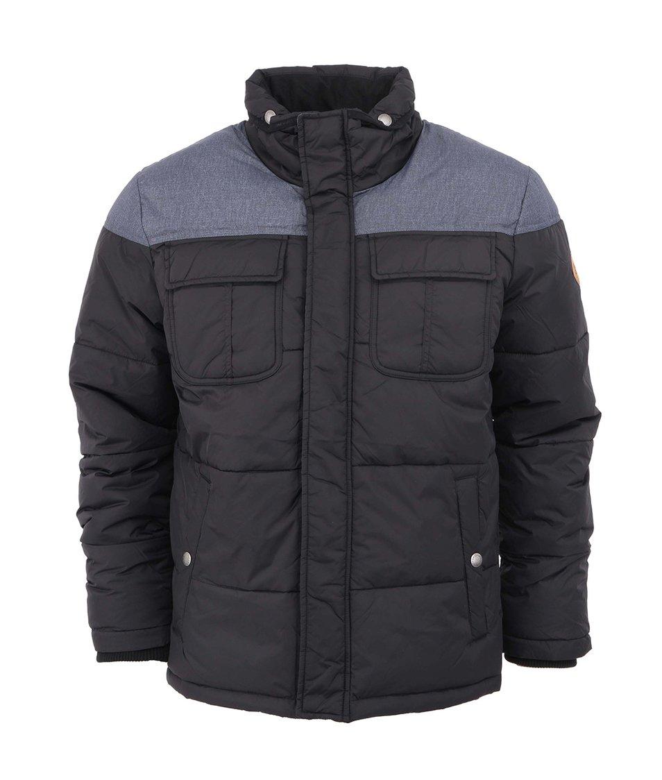Černo-modrá prošívaná zimní bunda Claps Jack & Jones