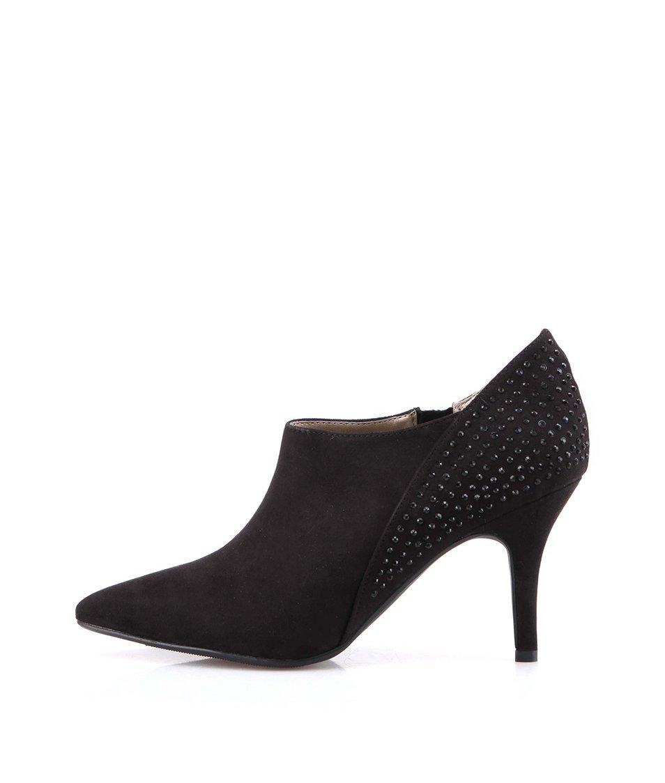 Černé boty na podpatku se třpytkami Victoria Delef