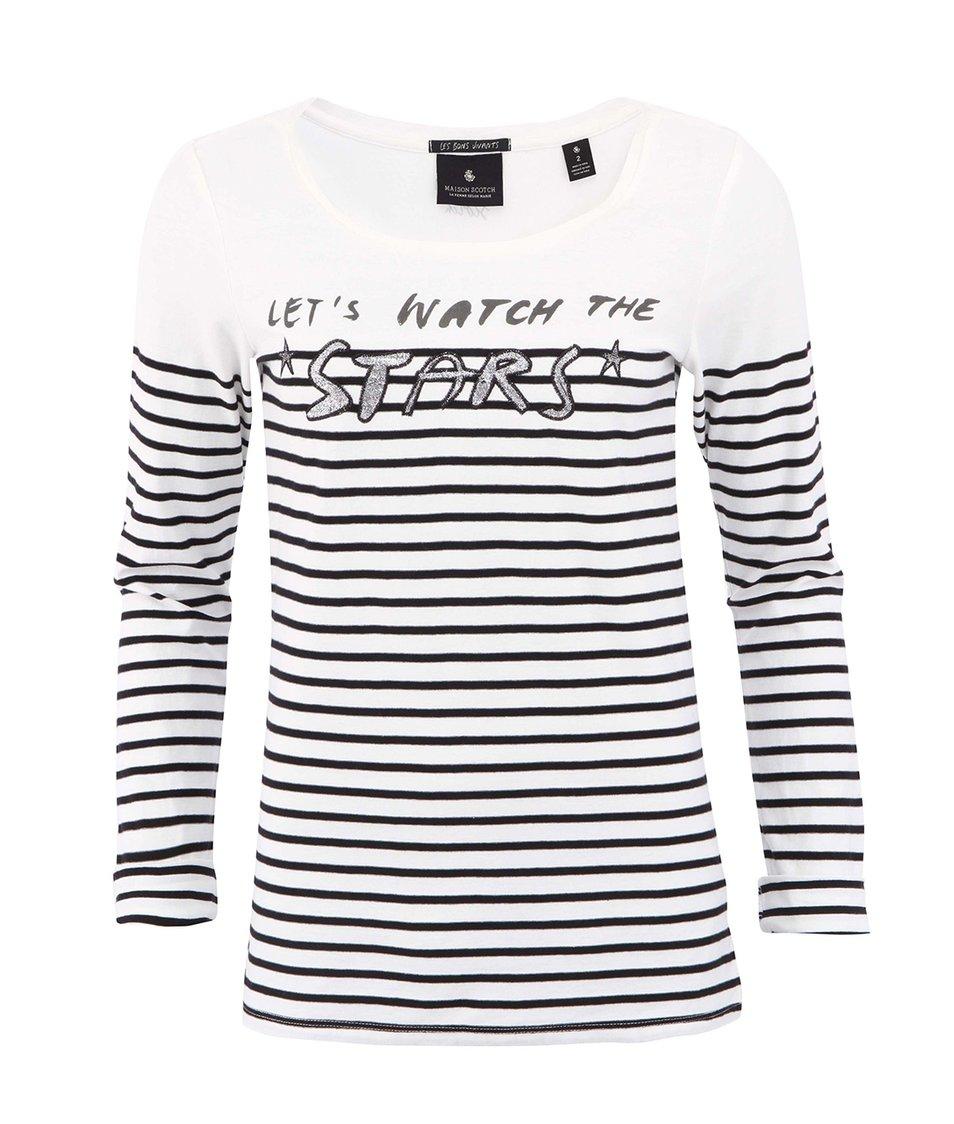Bílé triko s dlouhým rukávem Maison Scotch