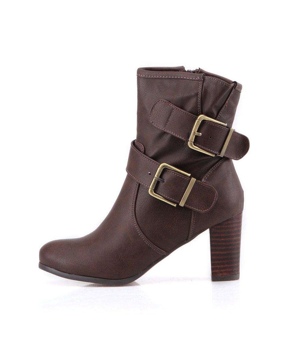 Hnědé vyšší kotníkové boty na podpatku Victoria Delef