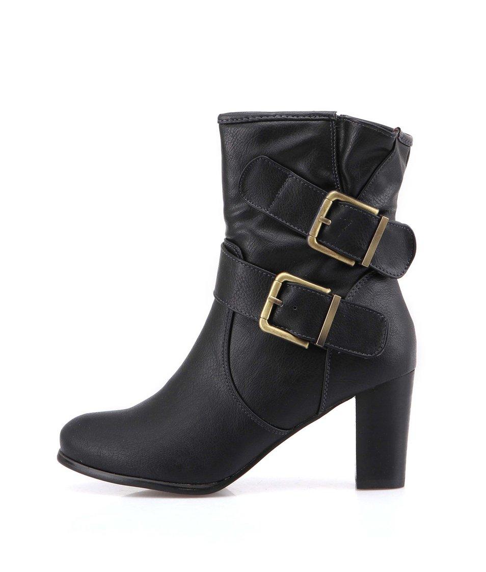 Černé vyšší kotníkové boty na podpatku Victoria Delef