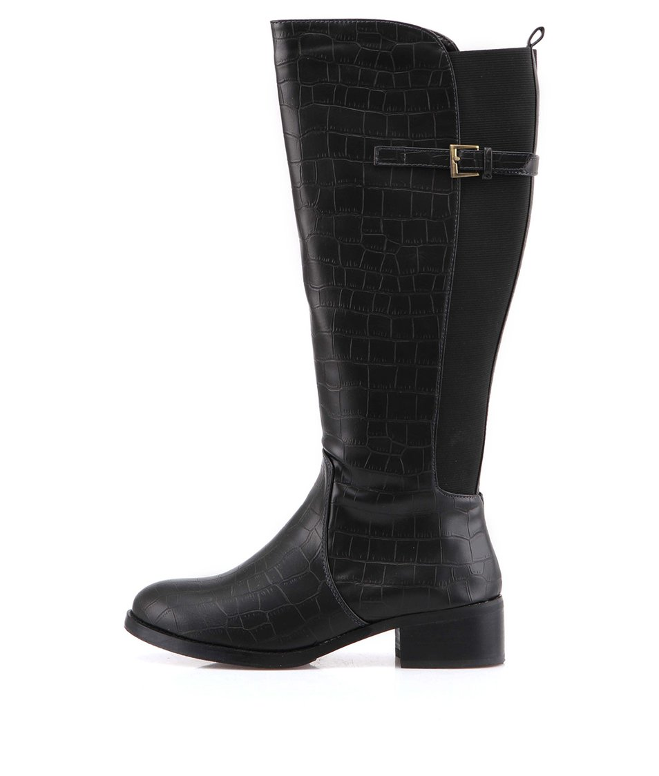 Černé kozačky s krokodýlím vzorem Victoria Delef