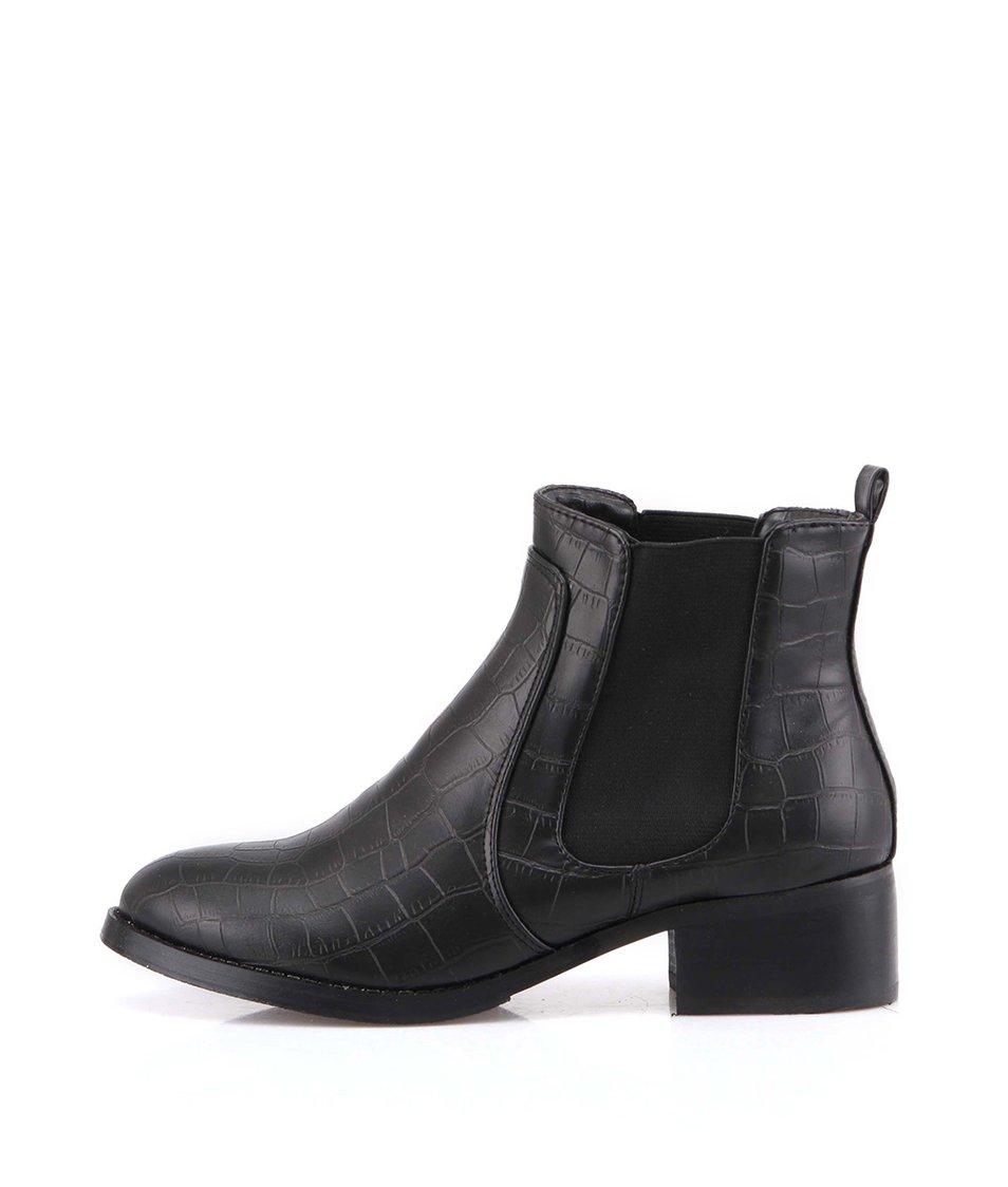 Černé kotníčkové boty s krokodýlím vzorem Victoria Delef