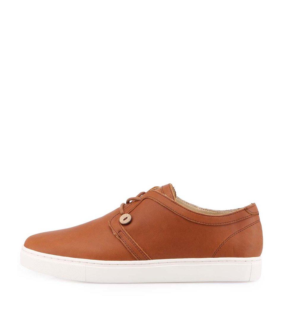 Hnědé pánské kožené boty Faguo Holly