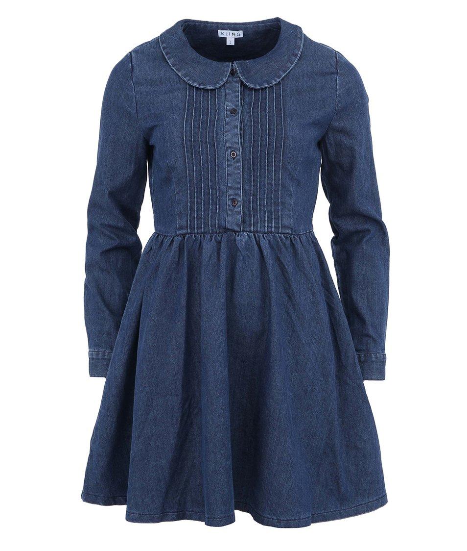 Modré denimové šaty s retro límečkem Kling Litcham