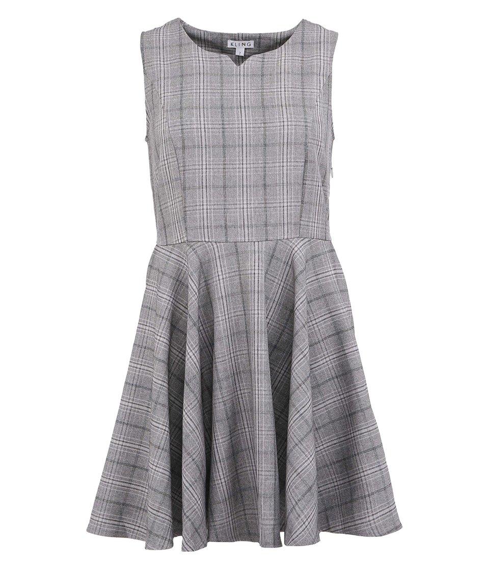 Šedé kárované šaty bez rukávu Kling Marianne
