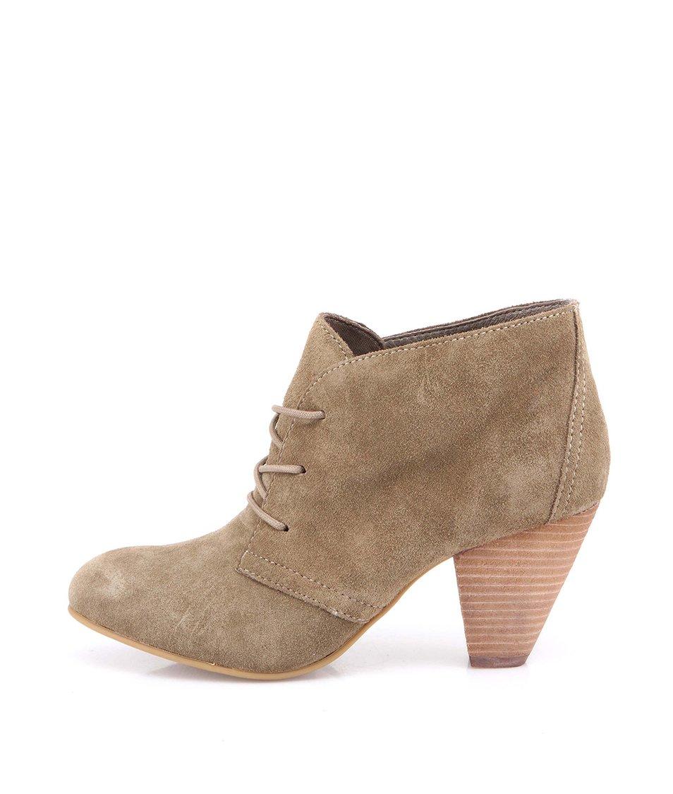 Světle hnědé dámské kožené boty na podpatku ALDO Ceilla