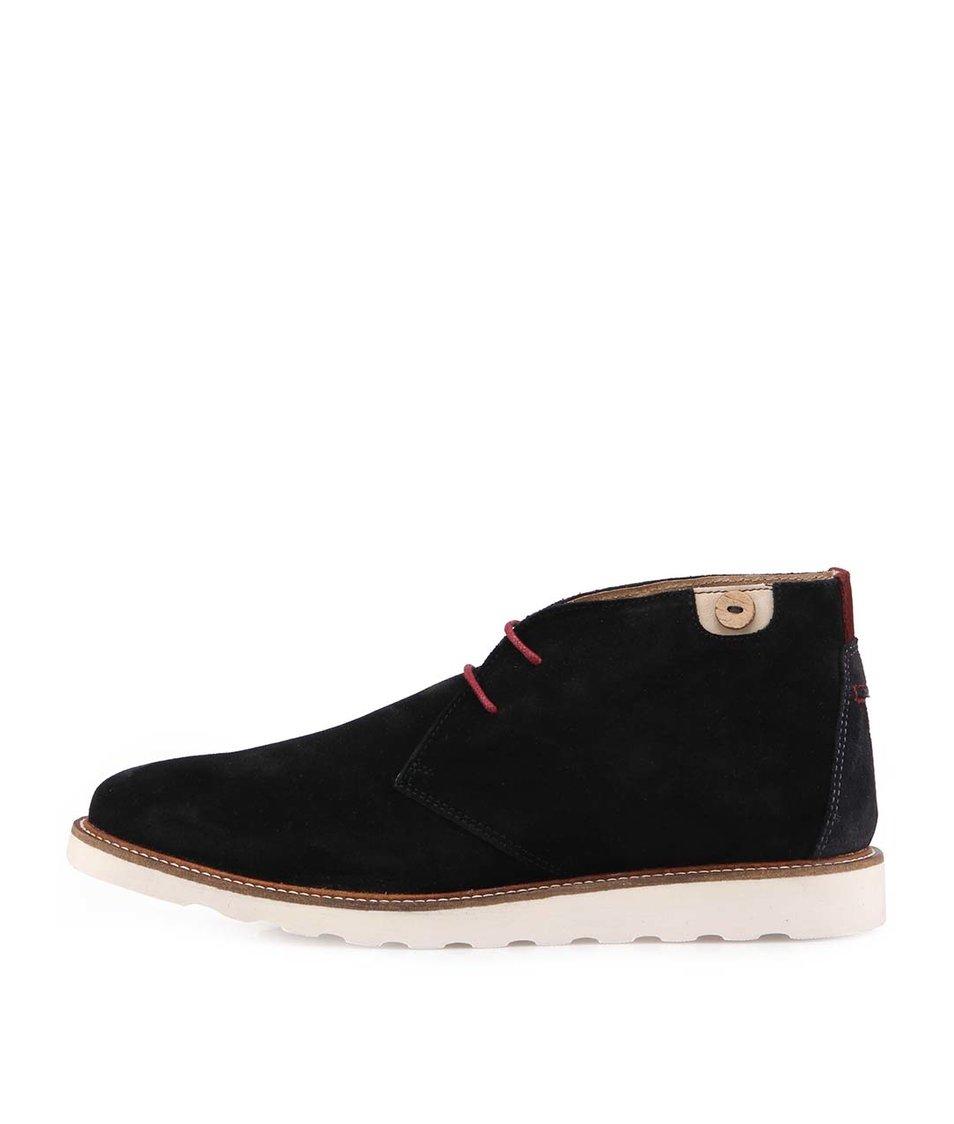 Černé pánské kožené kotníkové boty Faguo Poplar