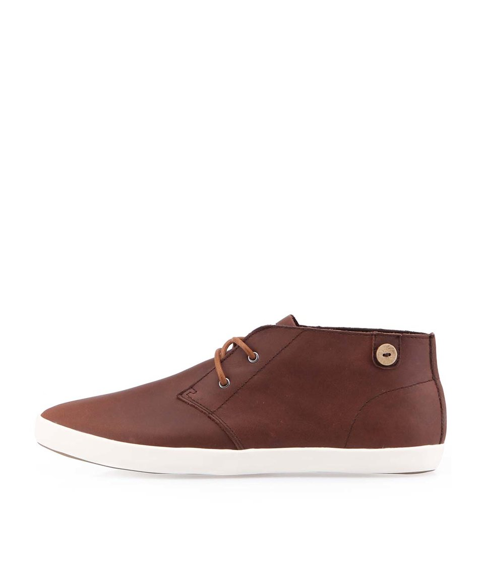 Tmavě hnědé kožené kotníkové boty Faguo Oleaster