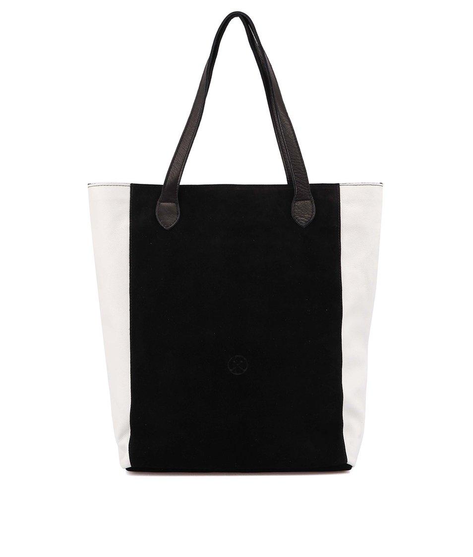 Bílo-černý kožený shopper OJJU