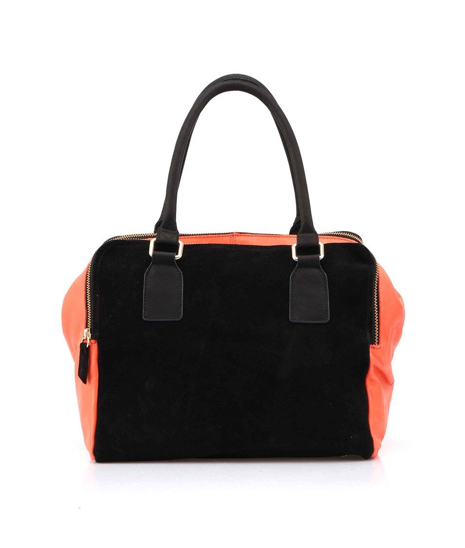 Korálovo-černá kožená kabelka do ruky OJJU